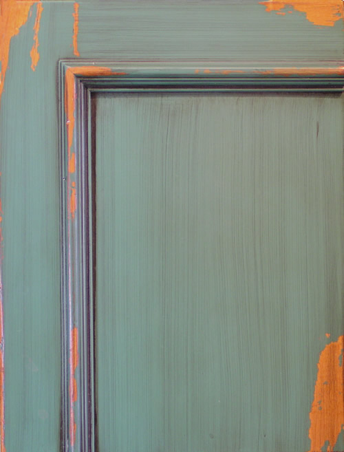 Distressed Brush Painted Cabinet Door with Chipping Effect