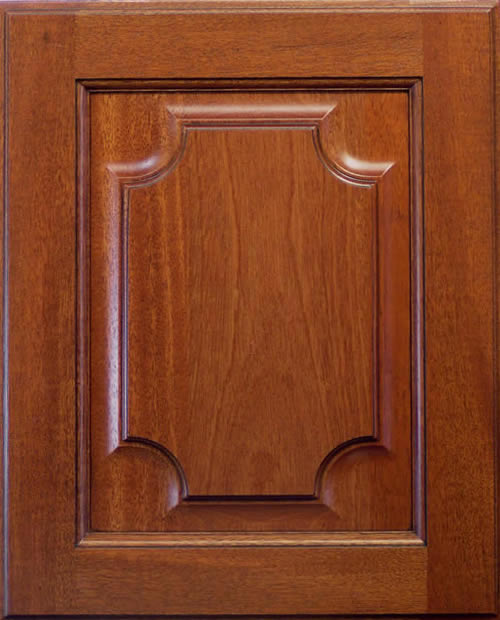 Clipped Corner Cabinet Door with Medium Stain