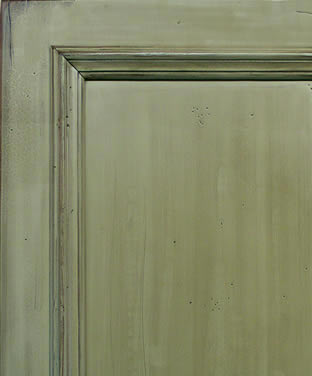 Green Painted Cabinet Door with Heavy Distress
