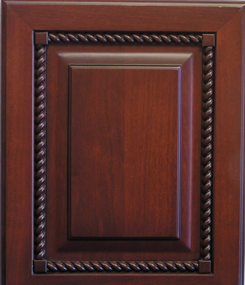 Raised Panel Cabinet Door with Rope Molding in Cherry